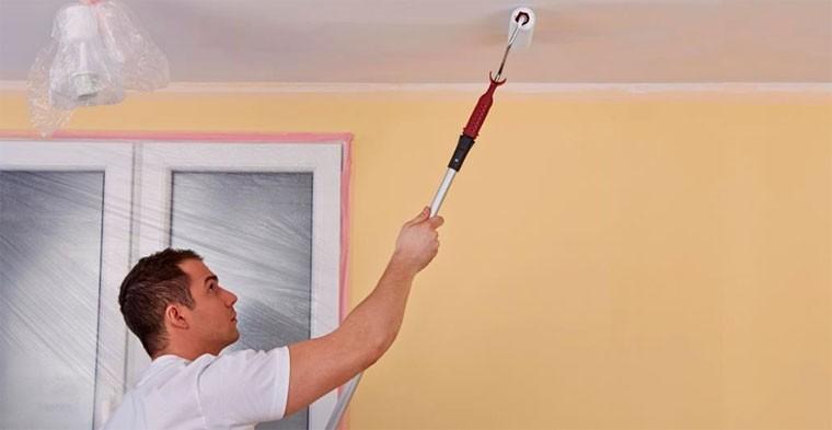 Как сделать потолок в частном доме с покраской