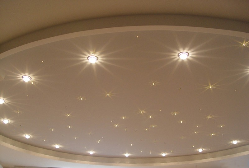 Светодиодные лампы и натяжной потолок