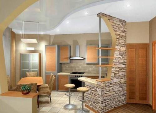 Виды гипсокартонных потолков на кухне