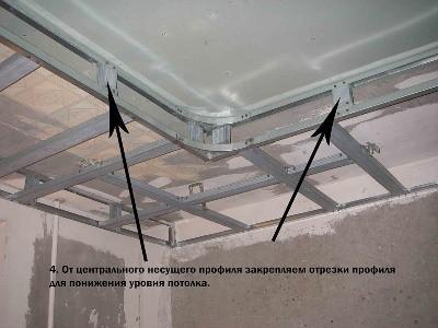 двухуровневый потолок Монтаж каркаса второго уровня