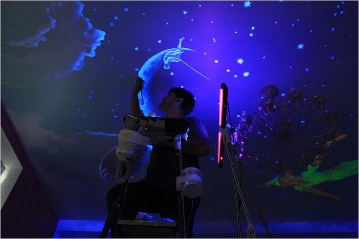 Эффект звездного неба на натяжном потолке Люминесцентные красители