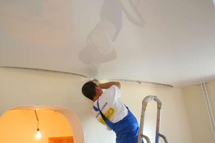 монтаж глянцевым потолком