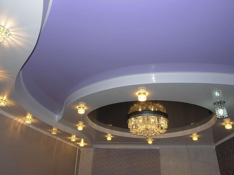 Многоуровневые натяжные потолки - Выступ полукругом