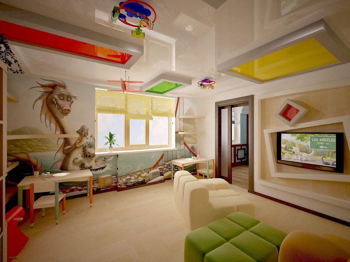 Натяжной потолок для детской комнаты