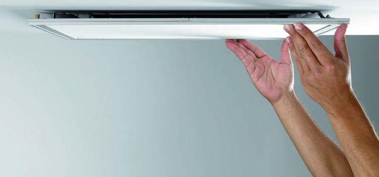 Установка светодиодных потолочных панелей