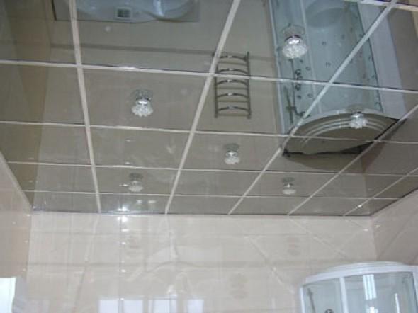 подвесной потолок в ванной комнате Зеркала