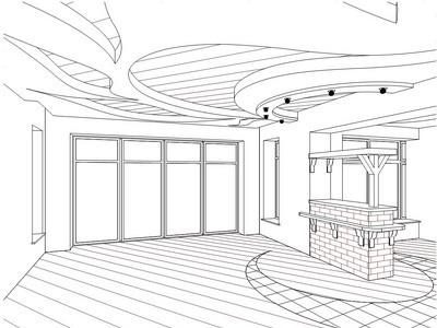 Дизайн-проект потолка из ГКЛ и натяжного полотна