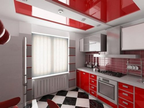Интересный дизайн натяжных потолков Кухня