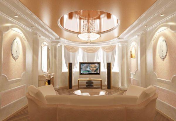 Классический натяжной потолок для зала
