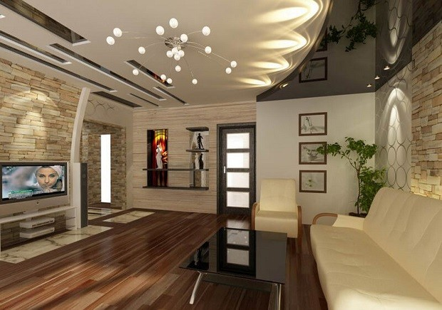Модерн натяжной потолок для зала