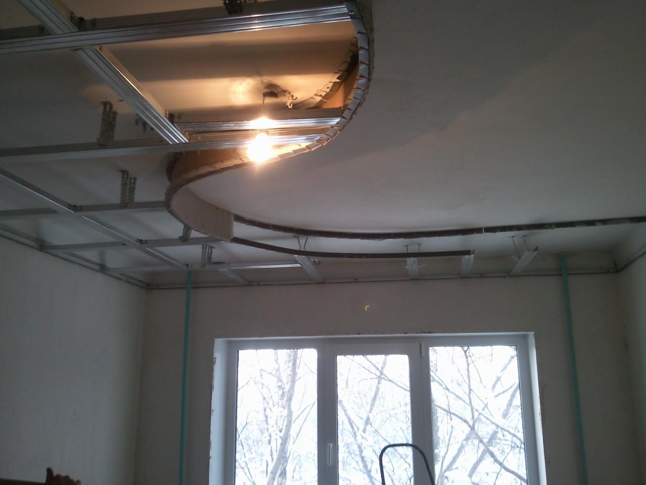 Порядок установки комбинированного потолка из гипсокартона и натяжного полотна