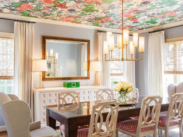 Цветовое решение интерьераобоев на потолок