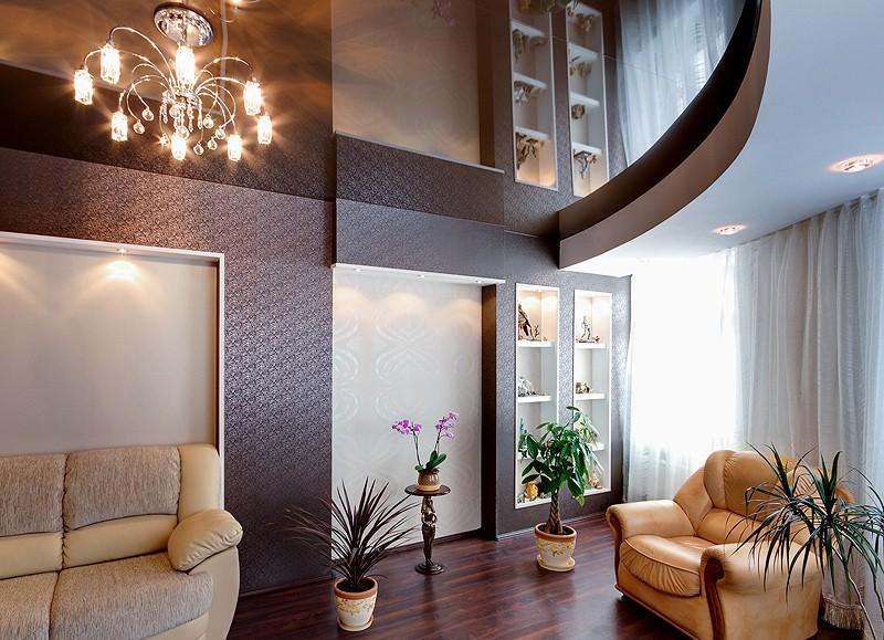 Зеркальные натяжные потолки для зала