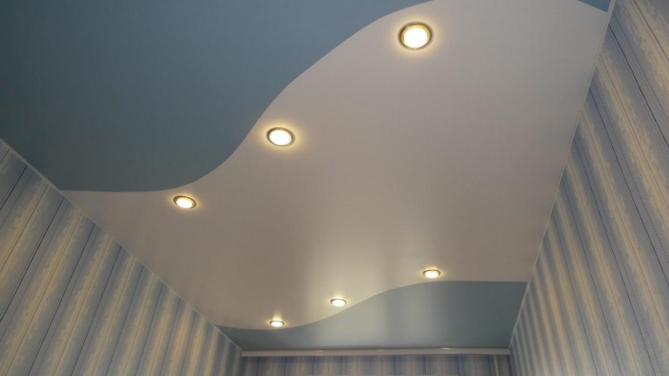 Дизайн двухцветного натяжного потолка