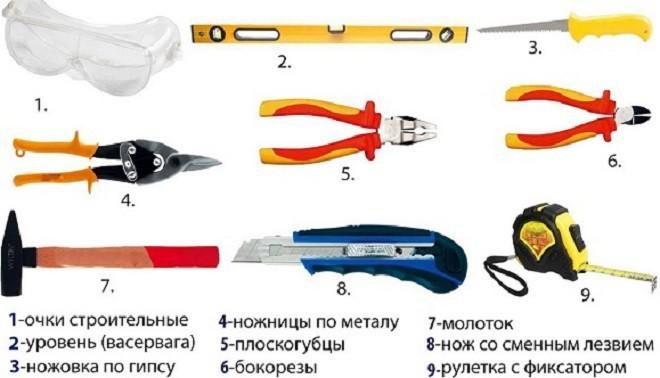 Инструменты для монтажа алюминиевых подвесных потолков