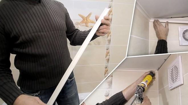 Как правильно клеить багет на потолок