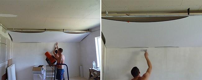 Монтаж натяжного потолка в мансарде под углом