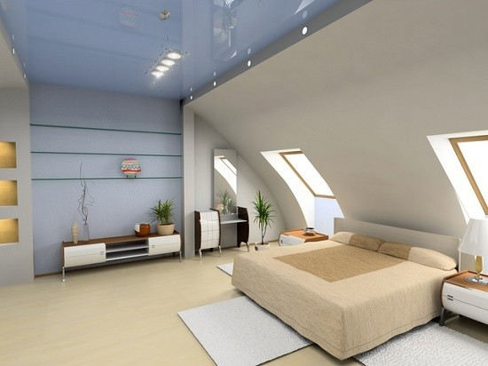 Монтаж натяжного потолка в мансарде
