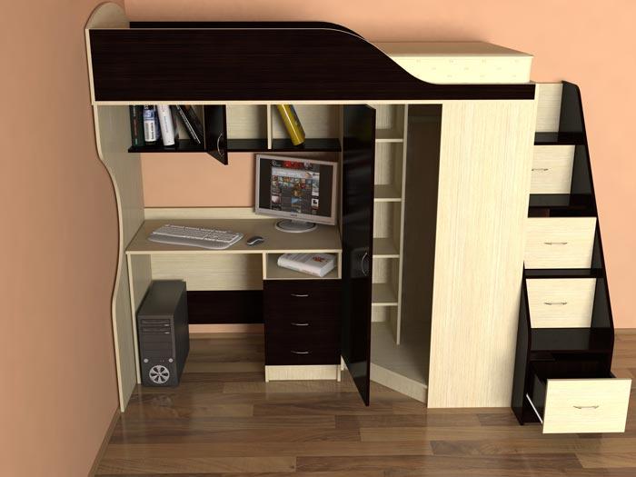 чердачная кровать под потолком