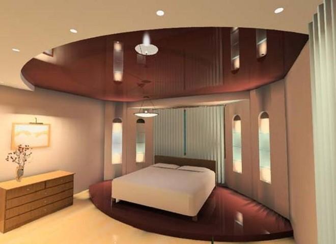 Примеры натяжных потолков в спальне