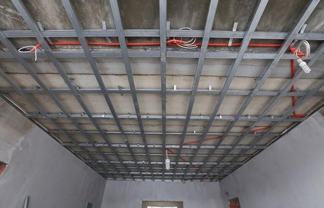 Монтаж каркаса подвесной конструкции