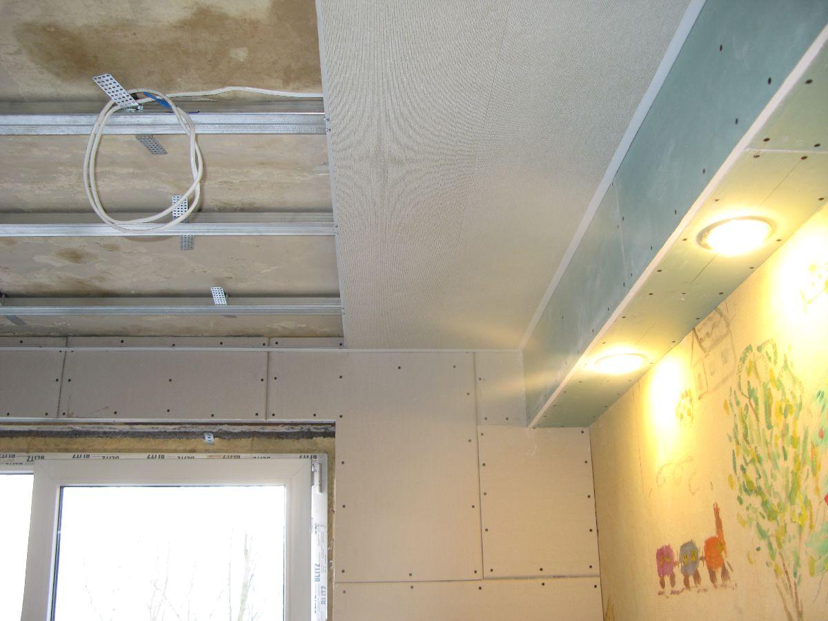 Монтаж обрешеткипод потолочные панели