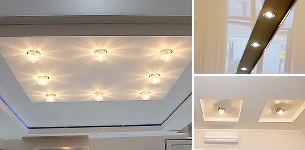 Размещение светильников на коробе для натяжного потолка