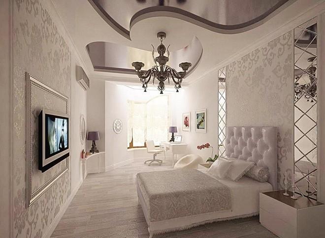 натяжной потолок в спальне несколькими тонами