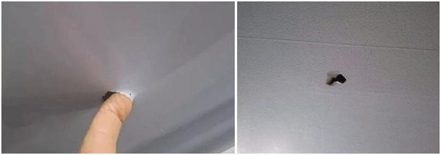 Как заделать дырку на натяжных потолках