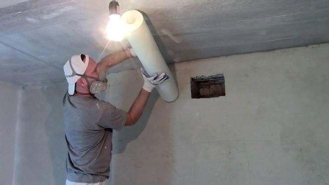Стеклохолст на потолок