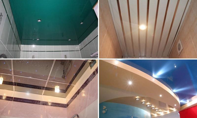 Варианты отделки потолка в санузле