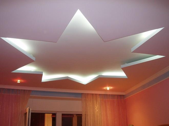 Варианты установки двухуровневых гипсокартонных потолков