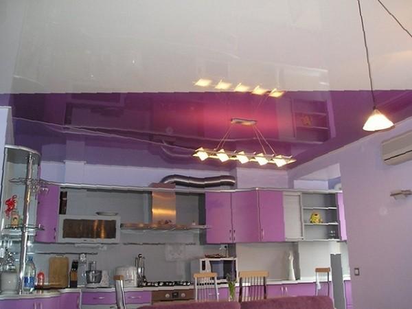 цвета натяжных потолков кухня