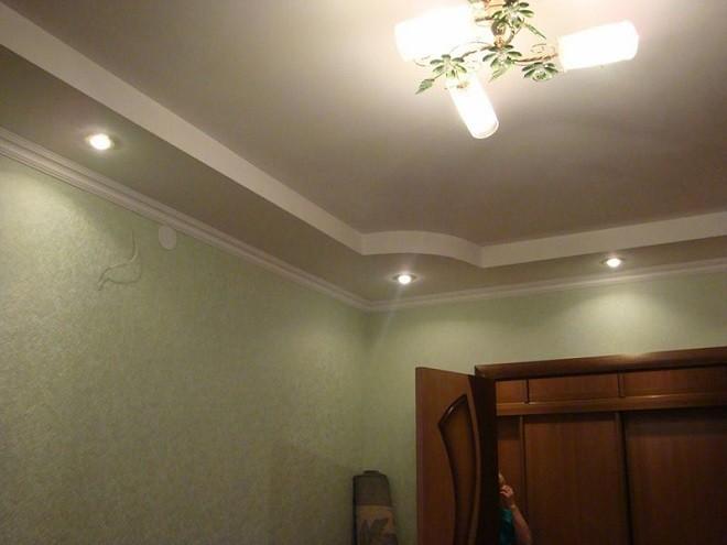 2-х уровневые потолки из гипсокартона фото