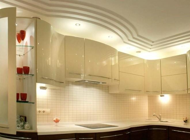 Дизайн потолка из гипсокартона кухни