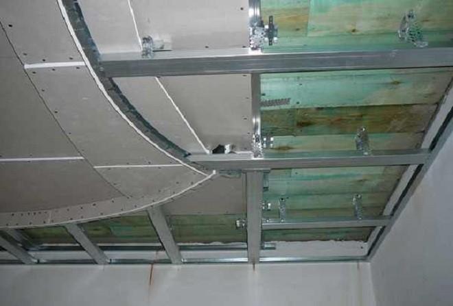 Монтаж каркаса для трехуровневого потолка из гипсокартона