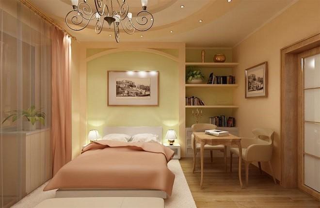Потолок из гипсокартона с подсветкой в небольшую спальню