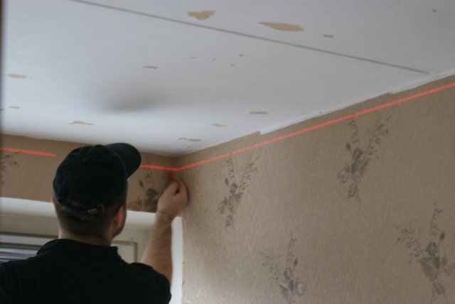 Разметка для первого уровня потолка из гипсокартона