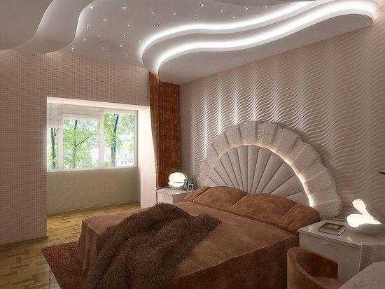Современные потолки из гипсокартона для спальни