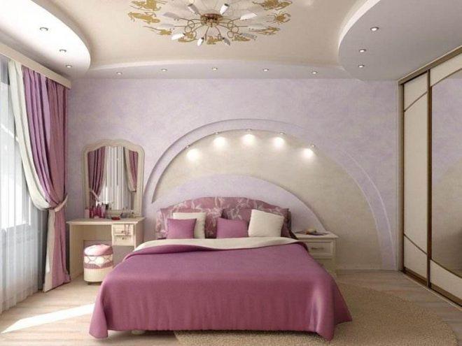 Спальня с потолками из гипсокартона