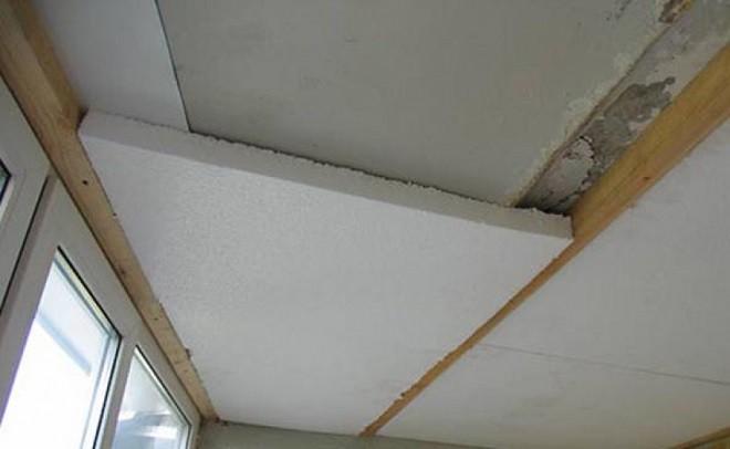 Утепление потолков балконапенопластом