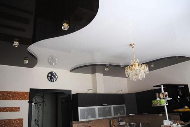 натяжной потолок чёрно белый
