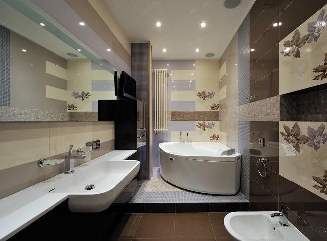 натяжной потолок в ванной с двумя рядами вмонтированных круглых точечных светильников