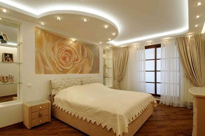 Потолки из гипсокартона в спальне: лучшие идеи, дизайн и подсветка