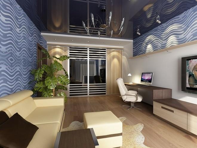 Натяжные потолки и встроенный шкаф идеи в интерьере