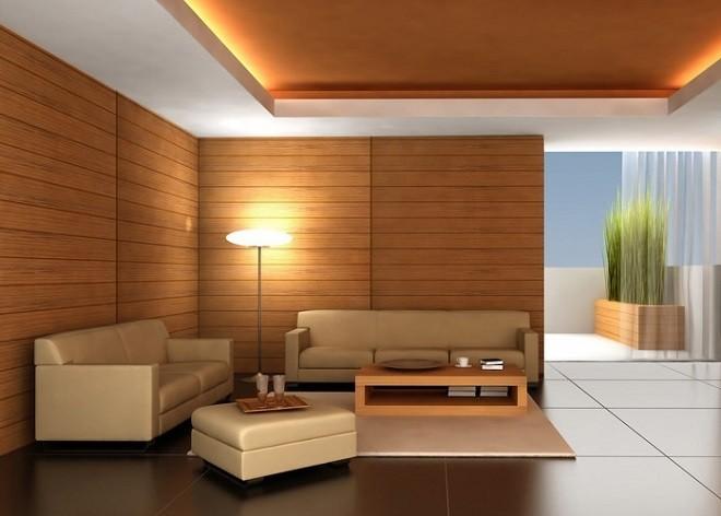 Сочетание деревянных потолков со стенами