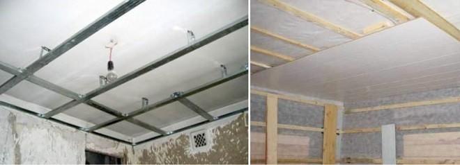 пластиковый потолок на кухне - каркасы из металлических профилей и деревянных брусьев