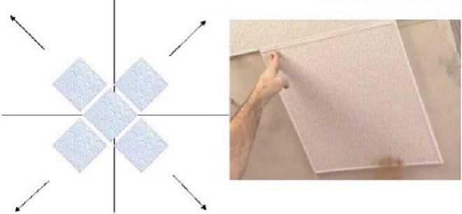 Как клеить ровно потолочную плитку на неровный потолок