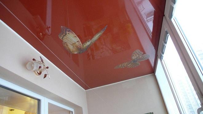 Натяжной потолок на балконе (лоджии) - фото