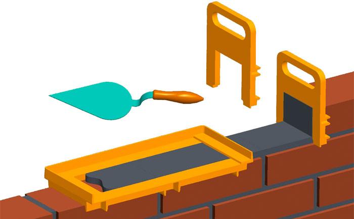 кладка кирпича при помощи шаблона